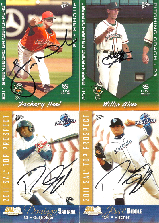Autographs: Zach Neal, WIllie Glen, Domingo Santana, Domingo Santana on Jesse Biddle Card