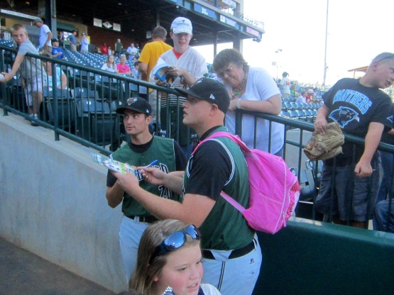 GreenJackets Pitcher Seth Rosin With The Hello Kitty Backpack