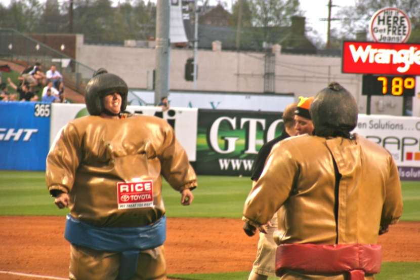 Sumo Wrestling between innings is always a fan favorite. Photo credit: Jordan Stowe